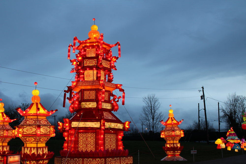 The festival features many large lantern displays towering into the air.