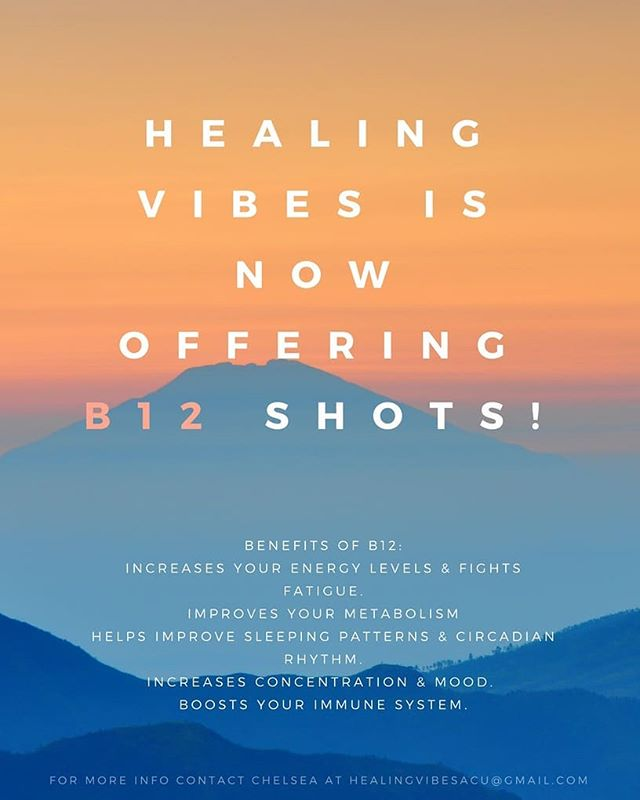 B12 has many benefits to help realign ourselves. We are so excited to offer this service to you! Call (720)689-5208 to make an appointment today! #denver #colorado #healingvibes #b12shots #boost #immunity #mood #improvesleep #increaseconcentration #holistichealth #behappy #lovewhoyouare #balance