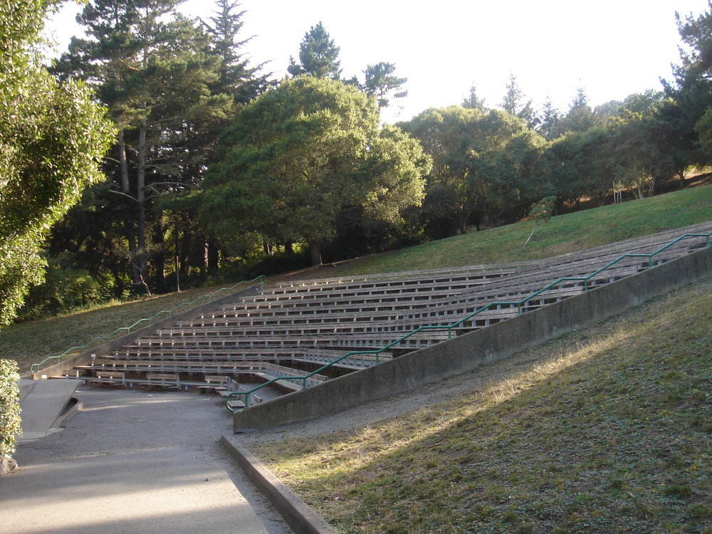 Bench seating and grassy area