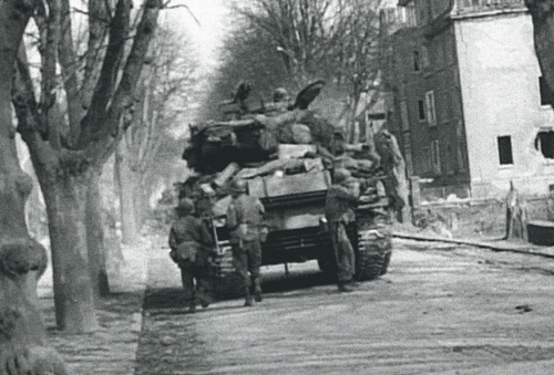 The 31st Tank Battalion rolled West into Grossen-Buseck, one day after Verns Tank was destroyed, photo dated 3-28-45