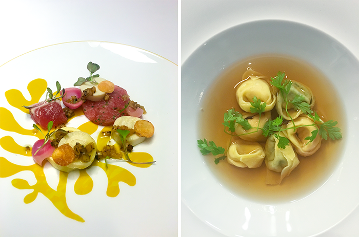 "Left: Yellowfin tuna with hearts of palm, sunchoke, truffle, and SproutsIO-grown red mustard greens at Menton; Right: Menton's popular ""Tortellini en Brodo"" topped with SproutsIO-grown chervil."