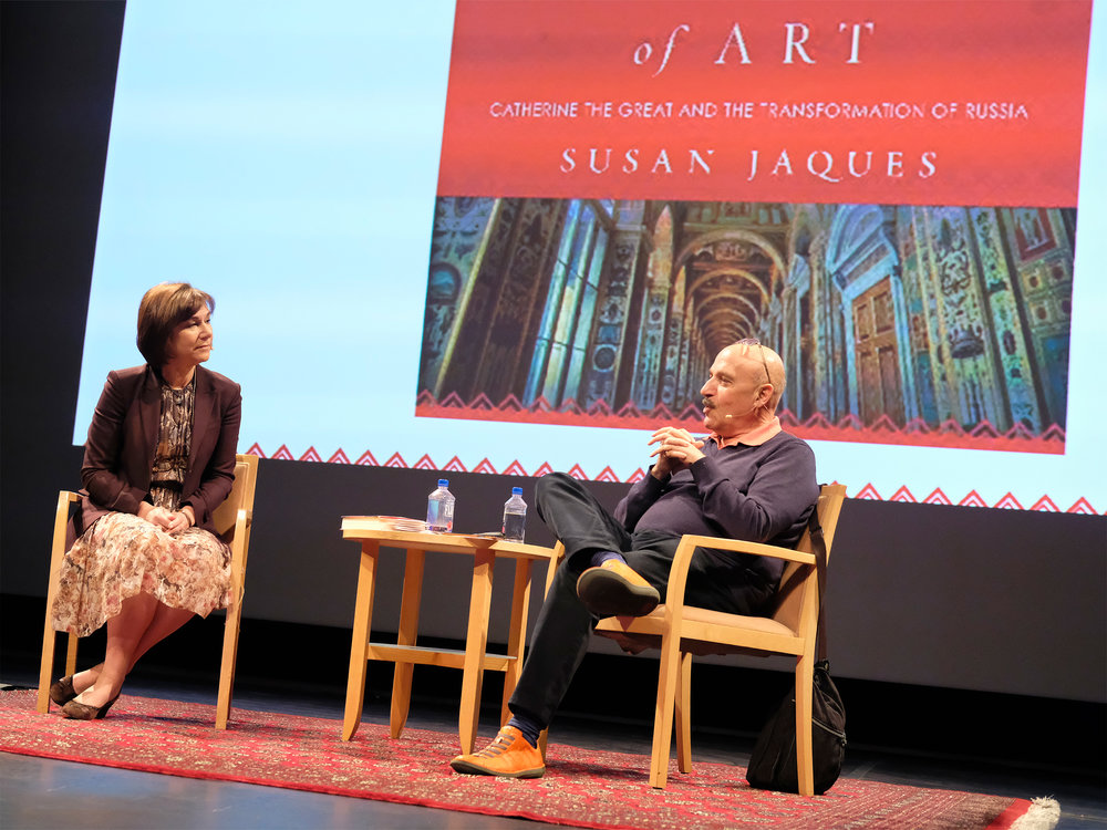 """Interviewing Susan Jaques, author of """"Catherine the Great: Empress of Art"""" at the Getty Center.    January 2016"""