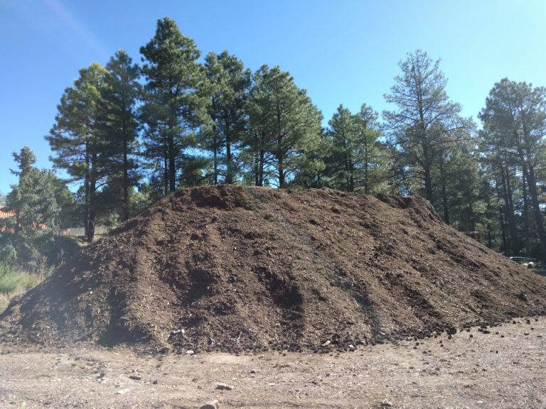 A compost pile 'seasons' on south campus before being ready to be used in local landscaping.