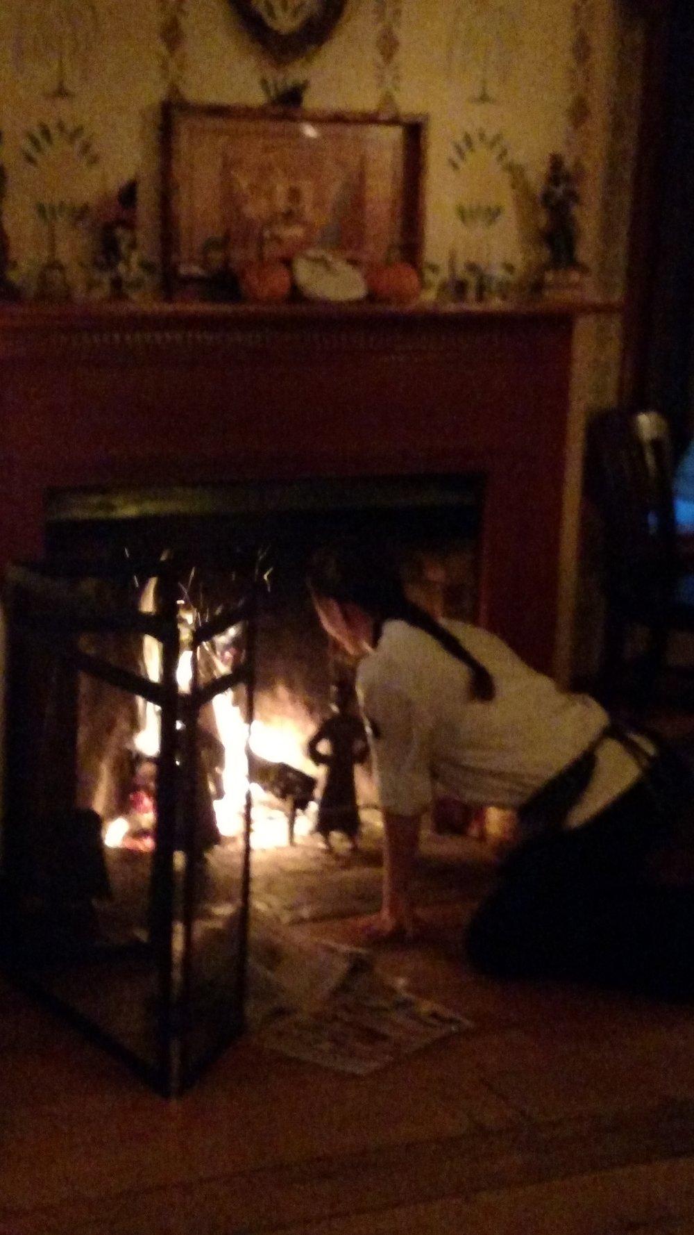 Jossie Cole lighting the fire Nov 2015.jpg
