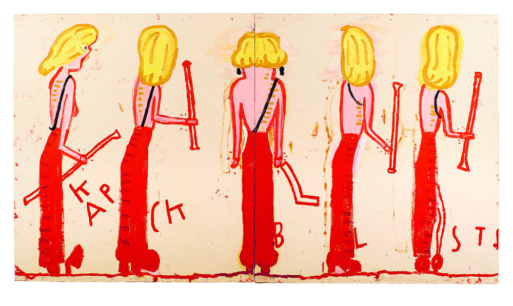 NK (Syracuse Line-Up) 2014 Oil on Canvas 185 x 333 cm Rose Wylie.jpg