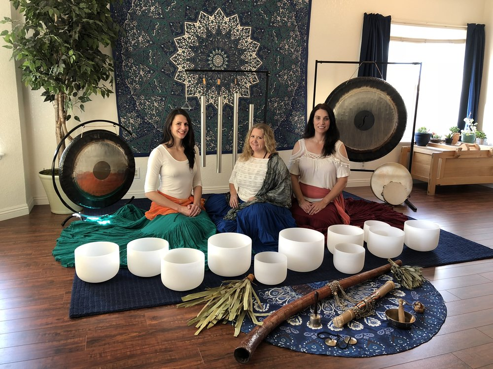 Anahata Mousai: Vibe with my heart - Anahata Mousai is a trio of sound healers from the Antelope Valley. Members Jean Monte, Kristen Cramer, and Moriah Cain Gross banded together in 2017 to offer a unique brand of sound healing to people throughout Southern California. They have developed particular quartz crystal singing bowl harmonies and combined them with gongs, hertz sound frequency tubes, and various instrumental flourishes to create an immersive, relaxing and rejuvenating sound bath experience for listeners.