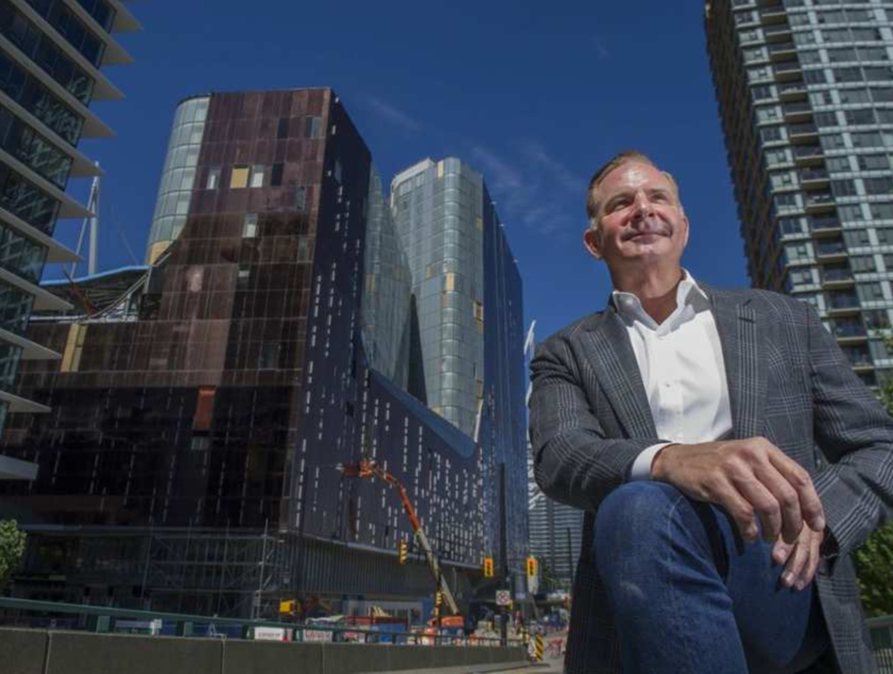 Scott Menke, CEO of Paragon Developments, in front of the Parq complex — two Marriott-branded hotels, a conference centre, ballroom and casino space — in downtown Vancouver last week. JASON PAYNE / PNG