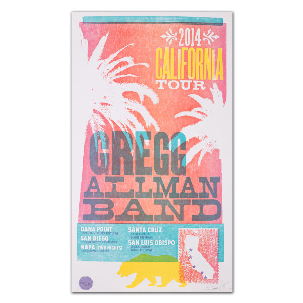 Gregg Allman 2014 California Tour Poster  $20.00 (Limited Edition)
