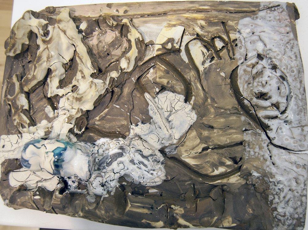 """Losa017  PM4 Fired ceramics, glazes 13x9x2,5"""" 33x23x6 cm"""