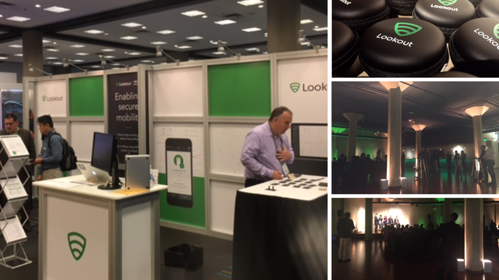 Left: Gartner trade show booth design. Right: RSA Security event design & branded giveaways. I worked with the marketing and sales team to bring our event designs to life.