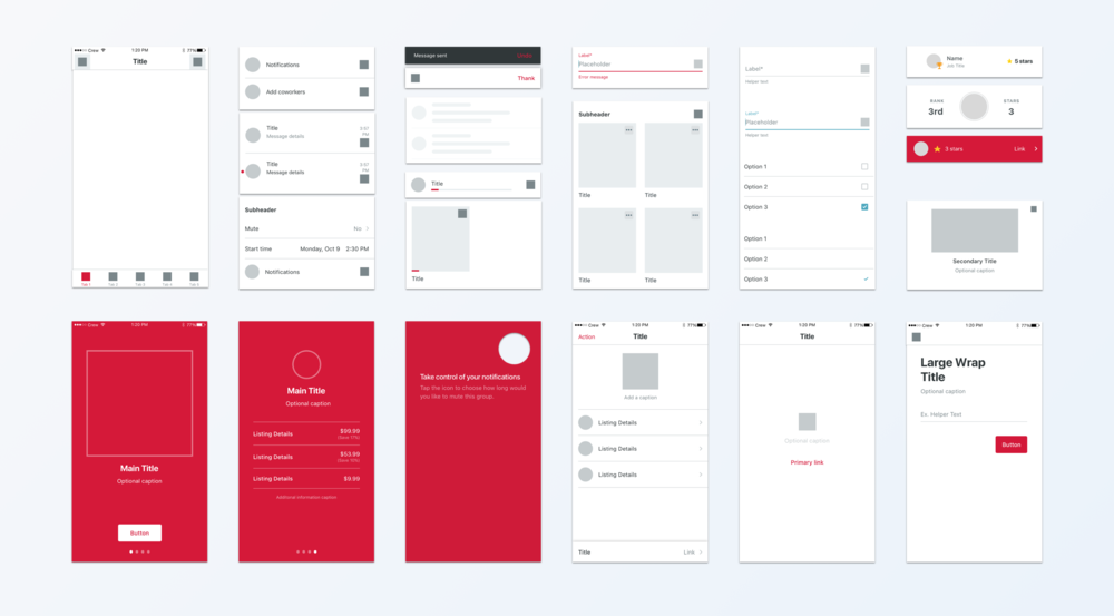 Sample of style guide components