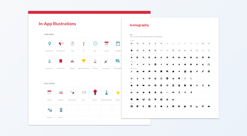 I created a set of icons and in-app illustrations for our team to pull from and add to over time.