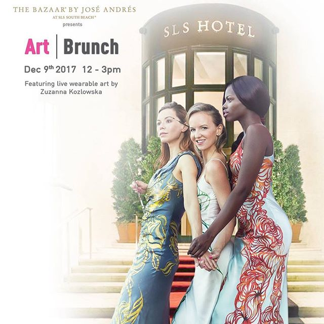 Art Brunch today at SLS hotel with Live wearable art by me 👋 - artist Zuzanna Kozlowska from 12pm - 3pm rain or shine!  If you haven't made reservations, please do so by emailing bazaarSBreservations@sbe.com. Looking forward to the festivities!  SLS Miami Beach 1701 Collins Ave Miami Beach, FL 33139  #artbrunch #artist #sls #slsmiami #artbaselmiami #artbasel2017 #wearableart #live #livepainting @artbaselstreetstyle @artbasel @artbaselcarti @artnet @artbaseltov @theartbasel @artbaselevent @artbaseline @artbaseltov