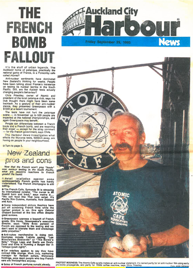 Chris Priestley, owner of Atomic Cafe and Herne Bay Petanque club president presented Greenpeace with $1000 as a gesture of our anti-nuclear stance. – Auckland City Harbour News, September 29, 1995