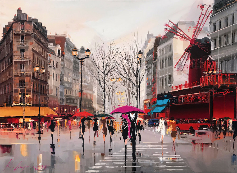 """Ambiance of the Moulin Rouge""  Size: 30"" x 40""  Original oil painting: Sold.  Limited edition giclée print, hand-detailed by the artist: Available"