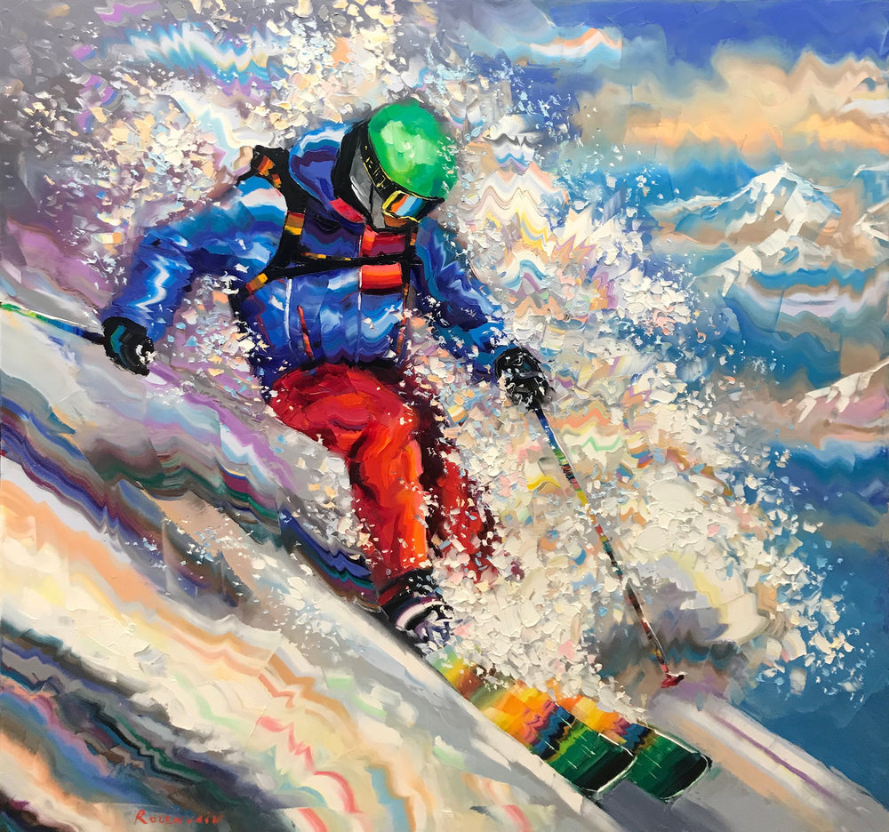 """Powder Day""  Size: 48"" x 48""  Original oil on canvas"