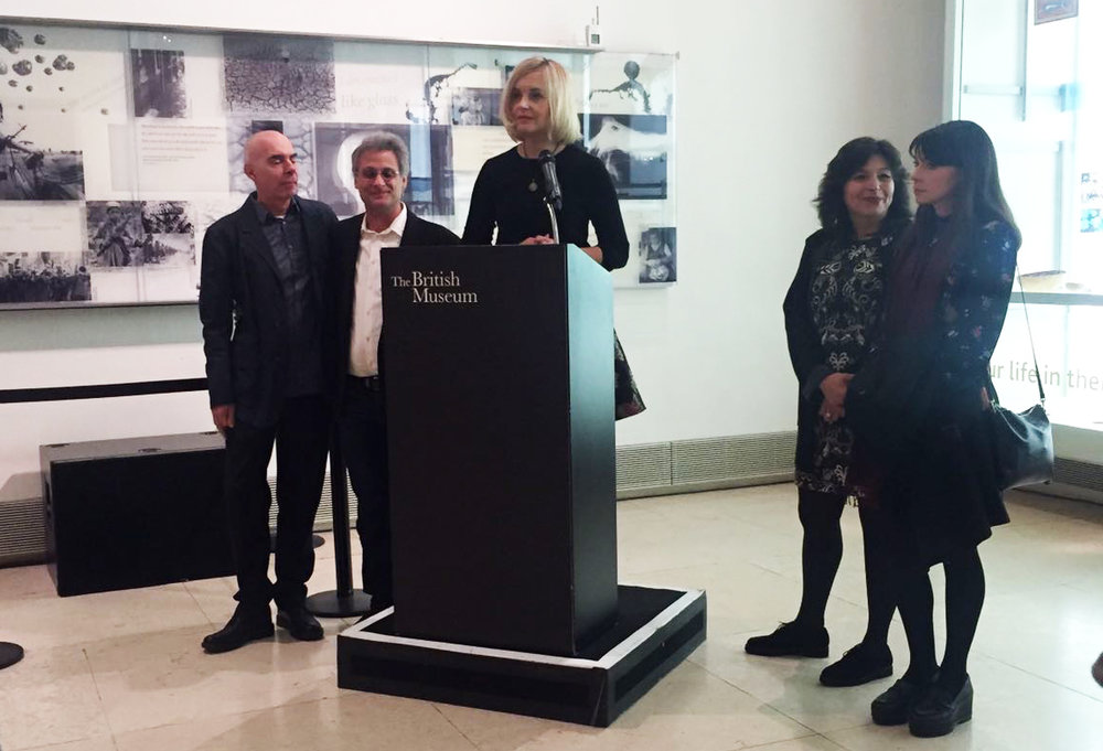 Opening reception at The British Museum, Last Whispers team: Marco Capalbo (left), Mark Mangini, Lena Herzog, Mandana Seyfeddinipur, Margaret Morris (right)