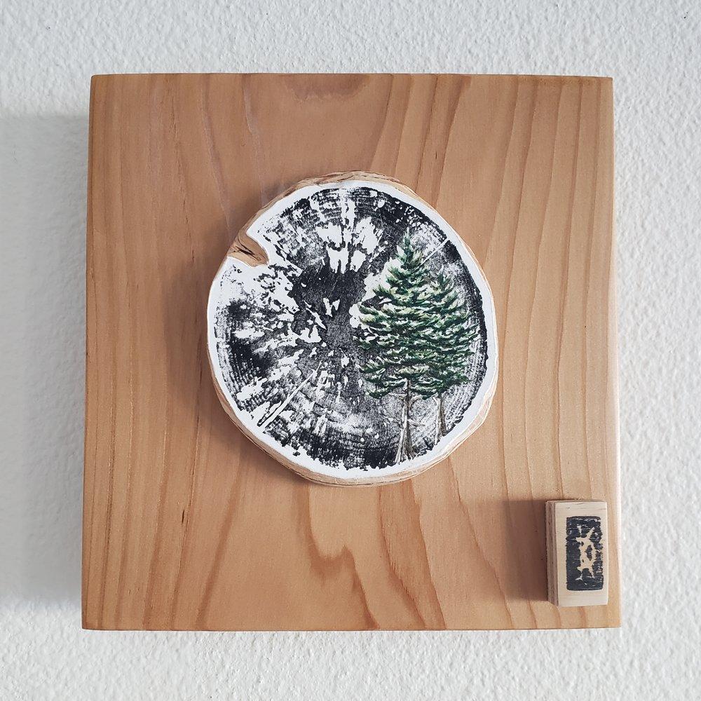 'Sitkas in the Wood' Woodblock print by Karen Britt