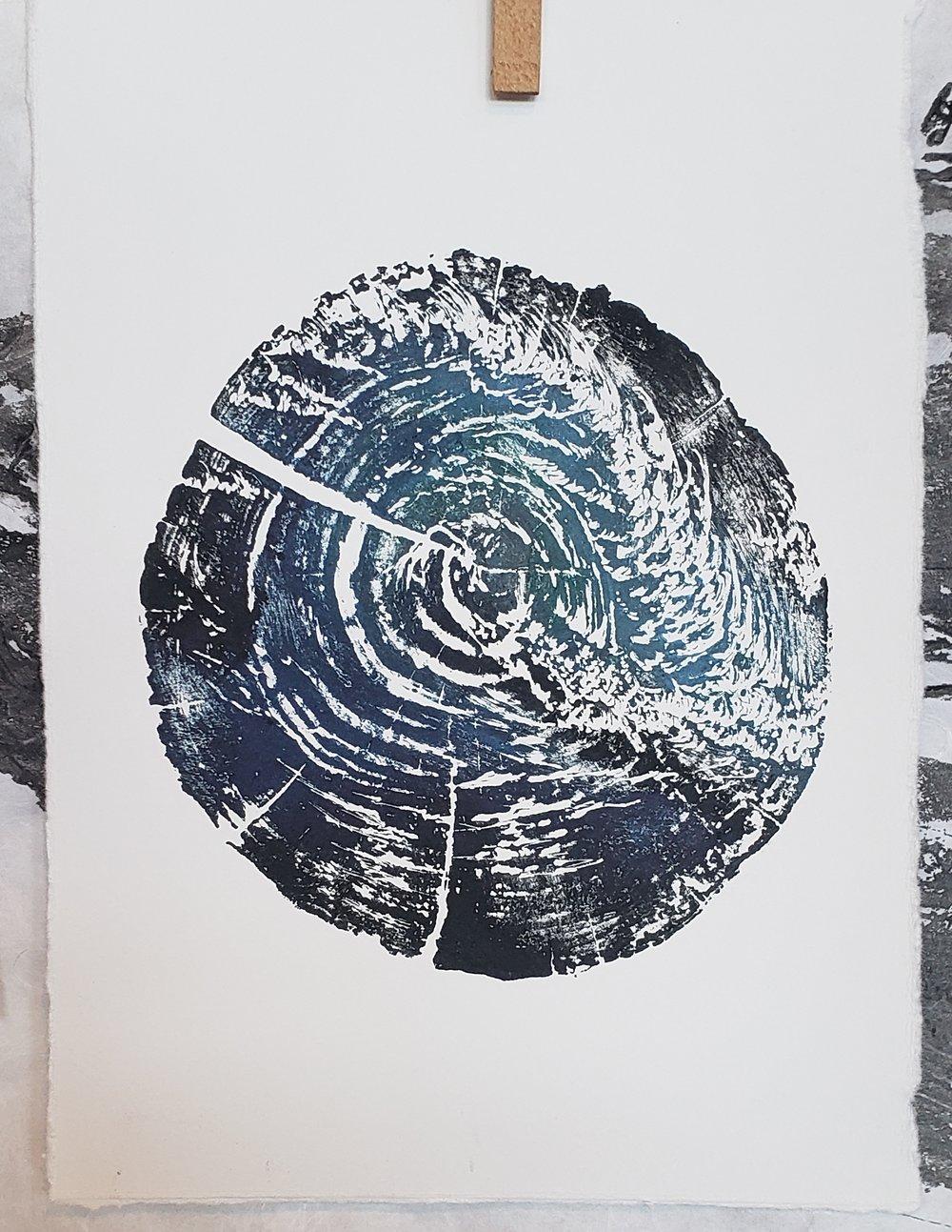 'Wave in the Wood' Woodblock print by Karen Britt