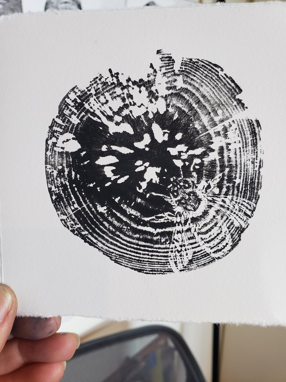 'Bees in the Trees' Woodblock print by Karen Britt