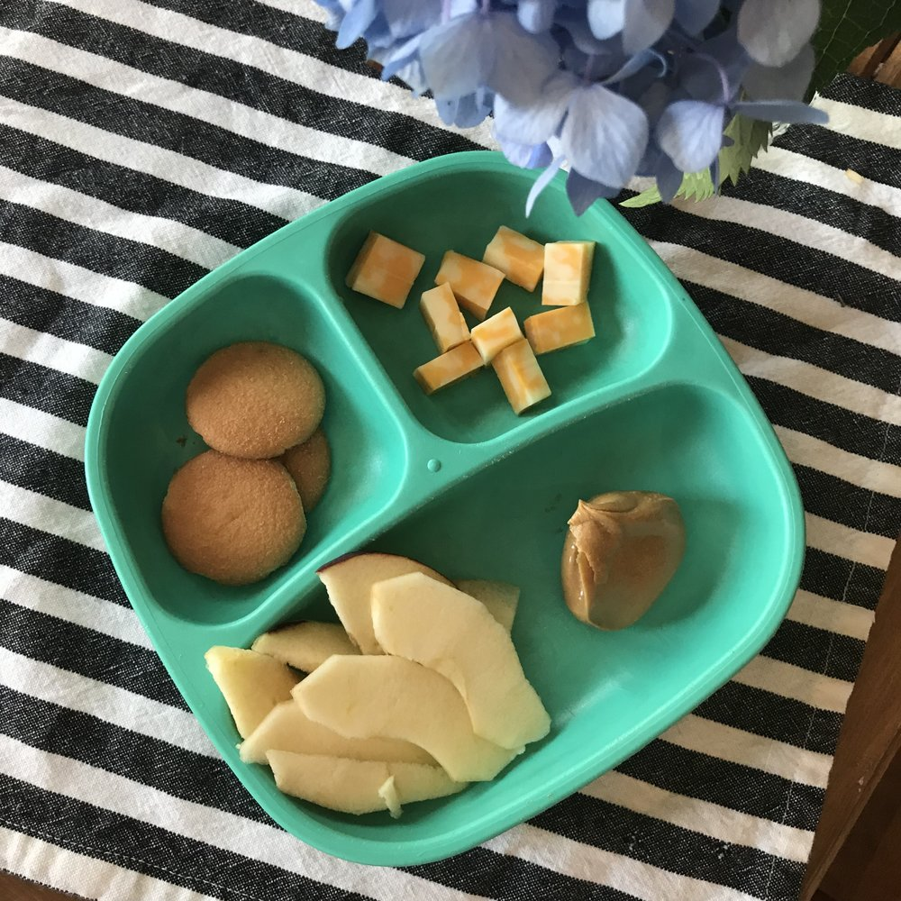 Easy Snack Plate - Cheese Bites, Nilla Wafers, Apple Slices w/ Nut Butter