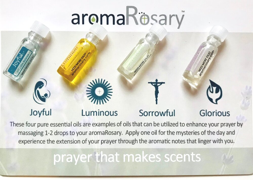 Every aromaRosary comes with essential oils. - Four blends of essential oils specially selected for each Mystery of the Rosary.