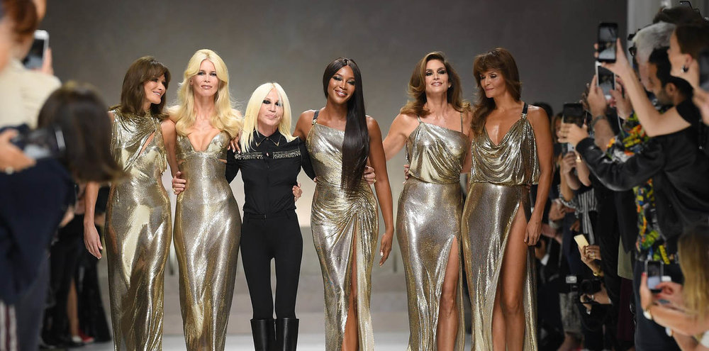 Cindy Crawford, Naomi Campbell, Claudia Schiffer, Helena Christensen and Carla Bruni in Donatella Versace's Milan show
