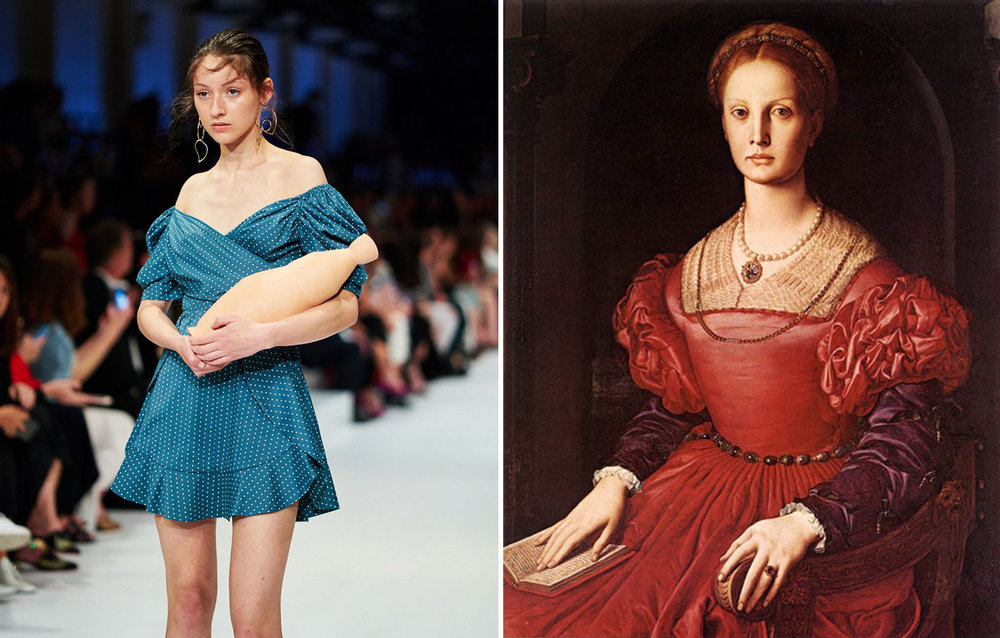 Left: Simona Beric for Cmeo Collective, Right: Portrait of Lucrezia Panciatichi by Agnolo Bronzino: ca 1540