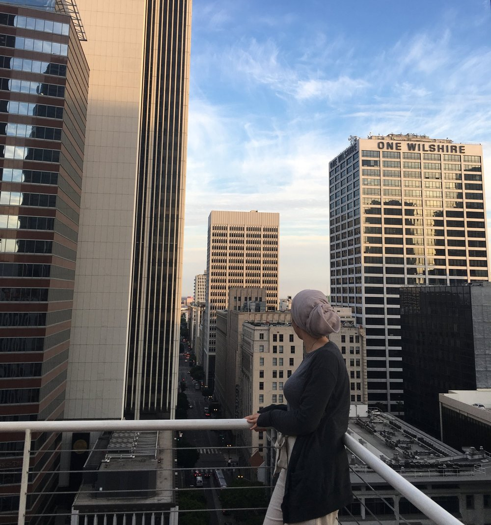 A picture taken at the Standard Hotel rooftop bar in Los Angeles.