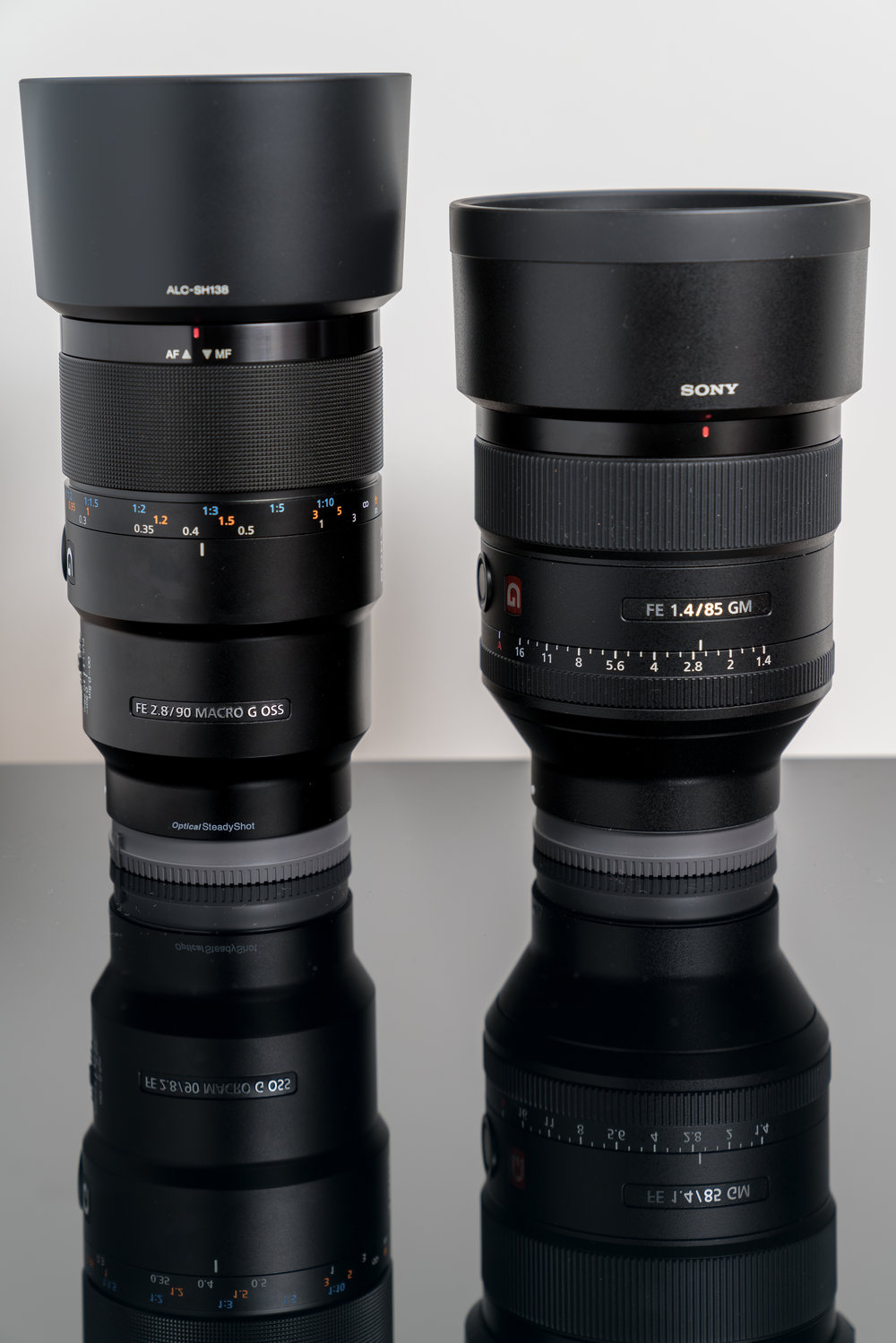 Left to right, Sony 90mm f2.8 Macro and the mighty Sony 85mm f1.4, I intend to try my hand at some portraits and street photography with this bokeh machine.