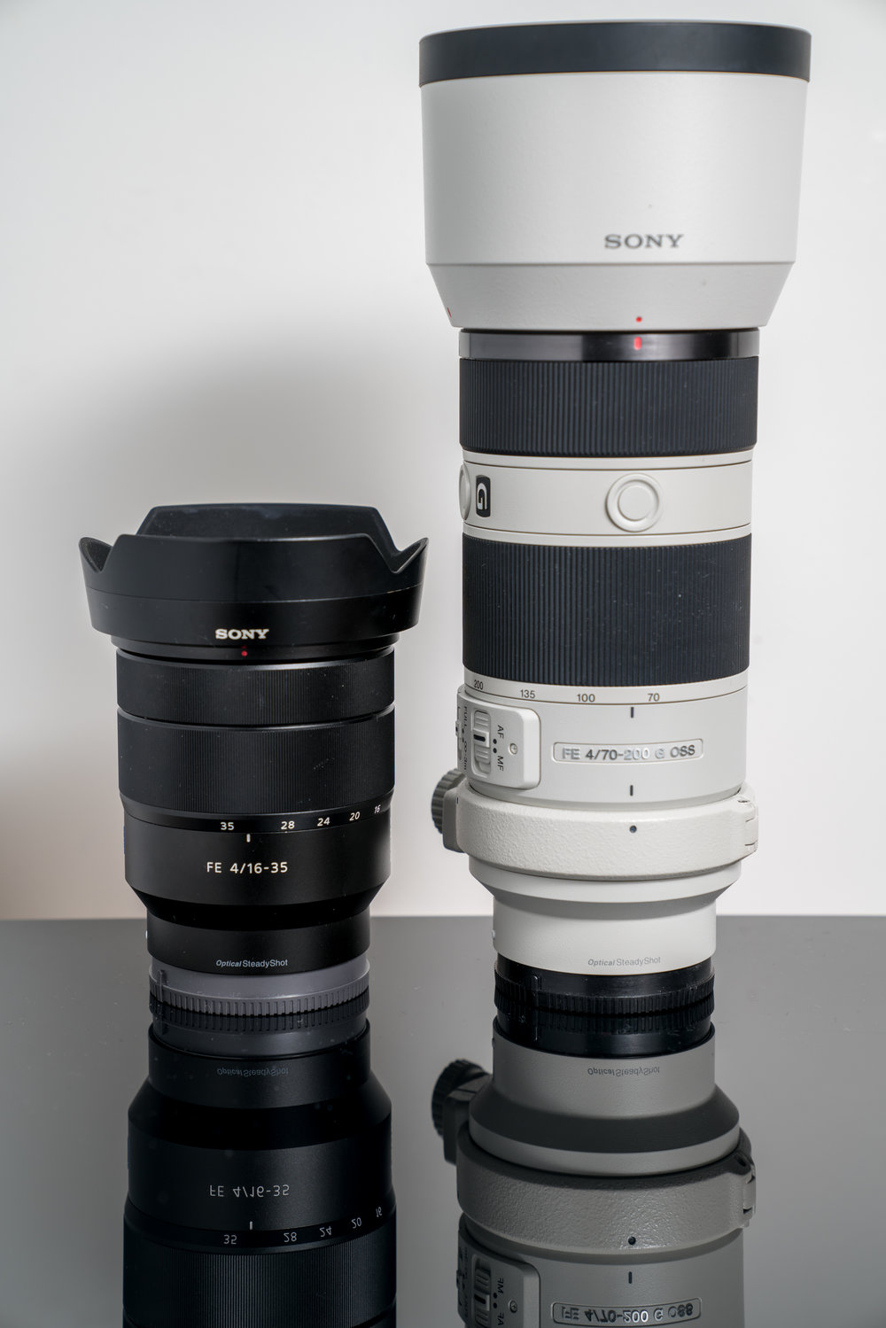 Two existing lenses, from left to right the Sony 16-35 f4 and the Sony 70-200 f4, both great lenses.