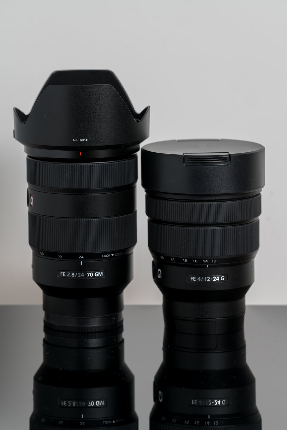Two more new lenses, from left to right, the Sony 24-70 f2.8 and then 12-24 f4, already massively impressed with the 12-24.