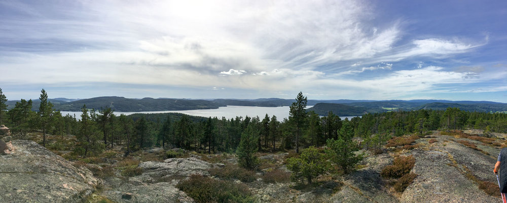 View from the top of Vårdkallberget, Höga Kusten toward Ullångersfjärden and Salsåker.
