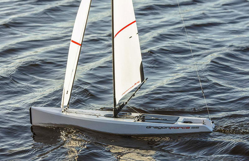 RC sailboat above: sails are trimmed to running downwind.