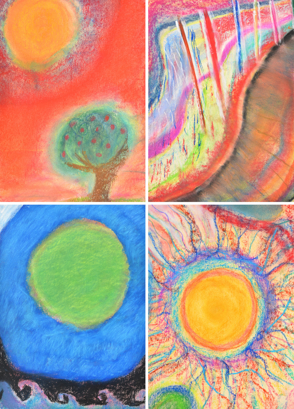 These 4 pastel drawings from 2017 show the range of styles represented in the finished diploma folios.