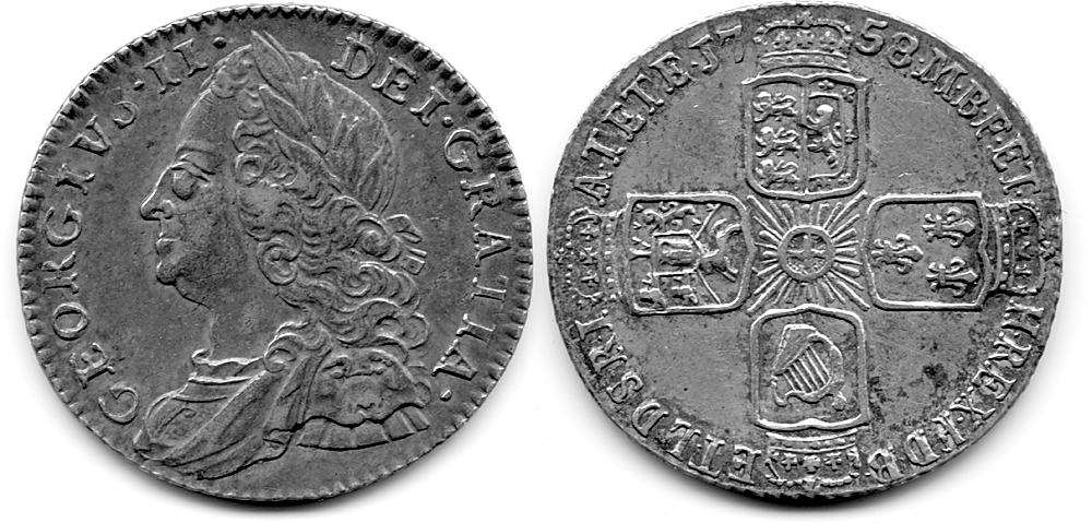 You can see the 1758 at the top back of the coin.