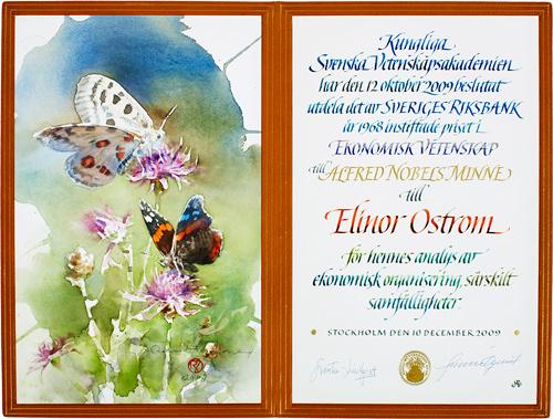 The Nobel Prize shown here is for Elinor Ostrom, who won for Economics in 2009.