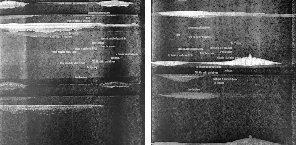 "The second spread shows more clouds moving in as Priestley's text continues, ""…the sameness of the electric fluid…."""