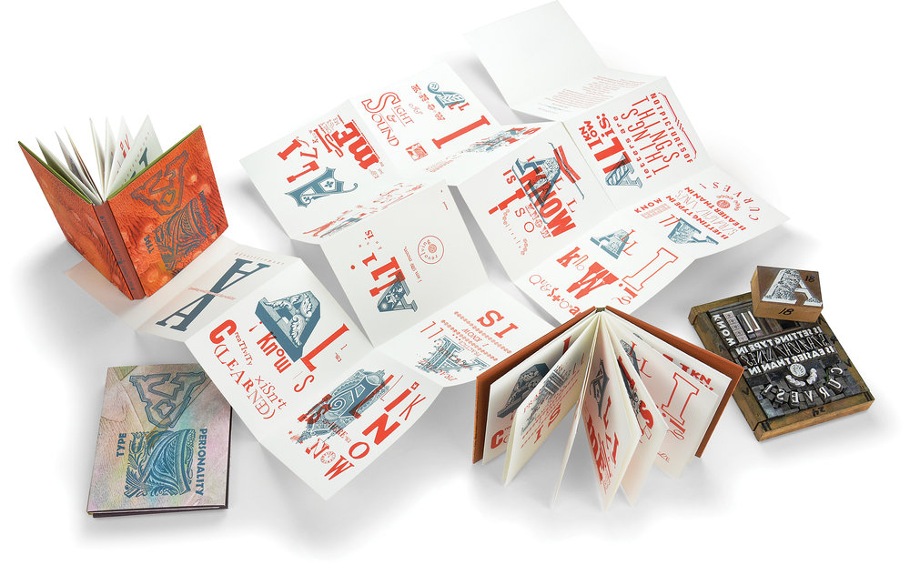 Shown here is a completed book (upper left and center front), the lockup for a single page (bottom right), and an unfolded text block with the visible torn edges on the crosswise fold lines.
