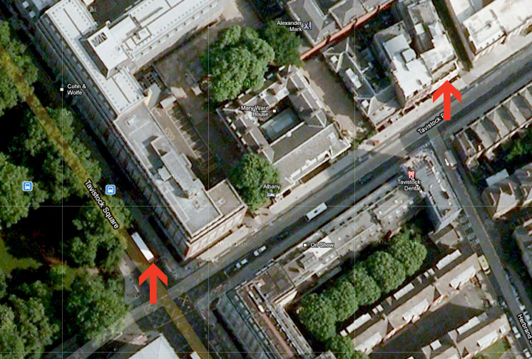 Our flat is to the upper right. It is about 150 years to the bus stop involved in the bombing. I walked directly to the corner, stopped for a moment, and was then encouraged to step back by the police. The store I was going to is directly down the street the bus was on.