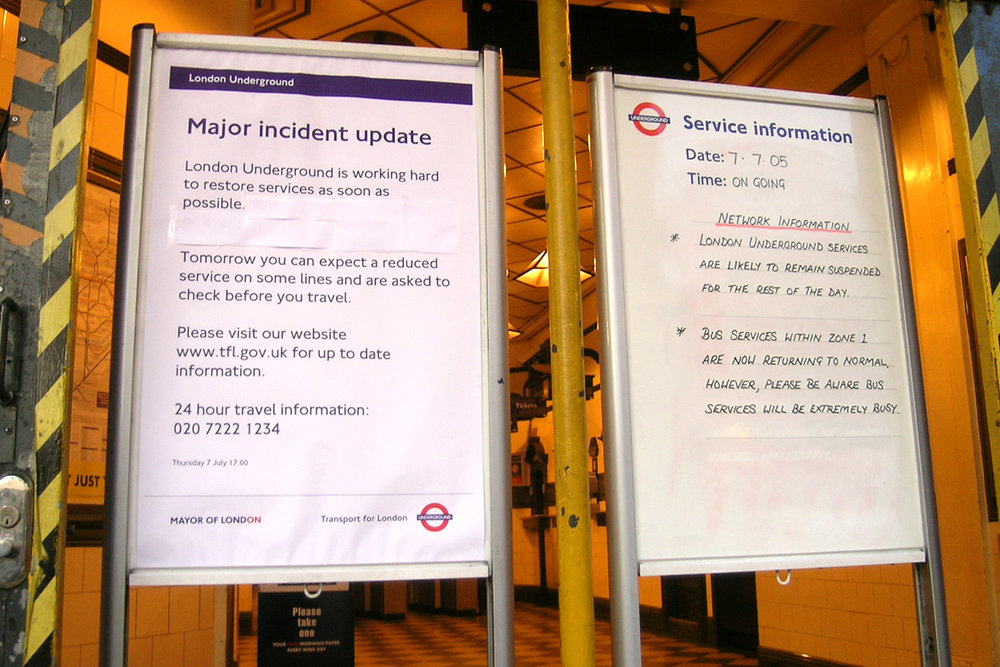 The signs at the Tube Station nearest where the students were staying.