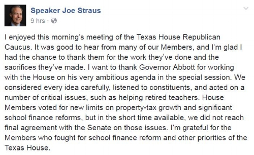 Pulled from Speaker Straus' Facebook Profile
