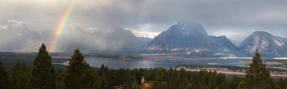 Tetons, Jackson Lake, Rainbow, Aspen