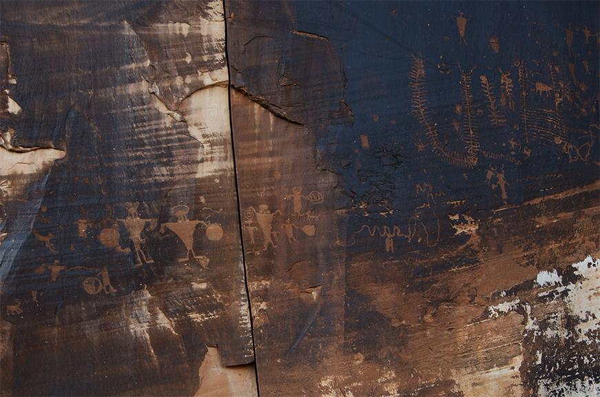 Petroglyphs on Canyon Wall along Colorado River at Moab