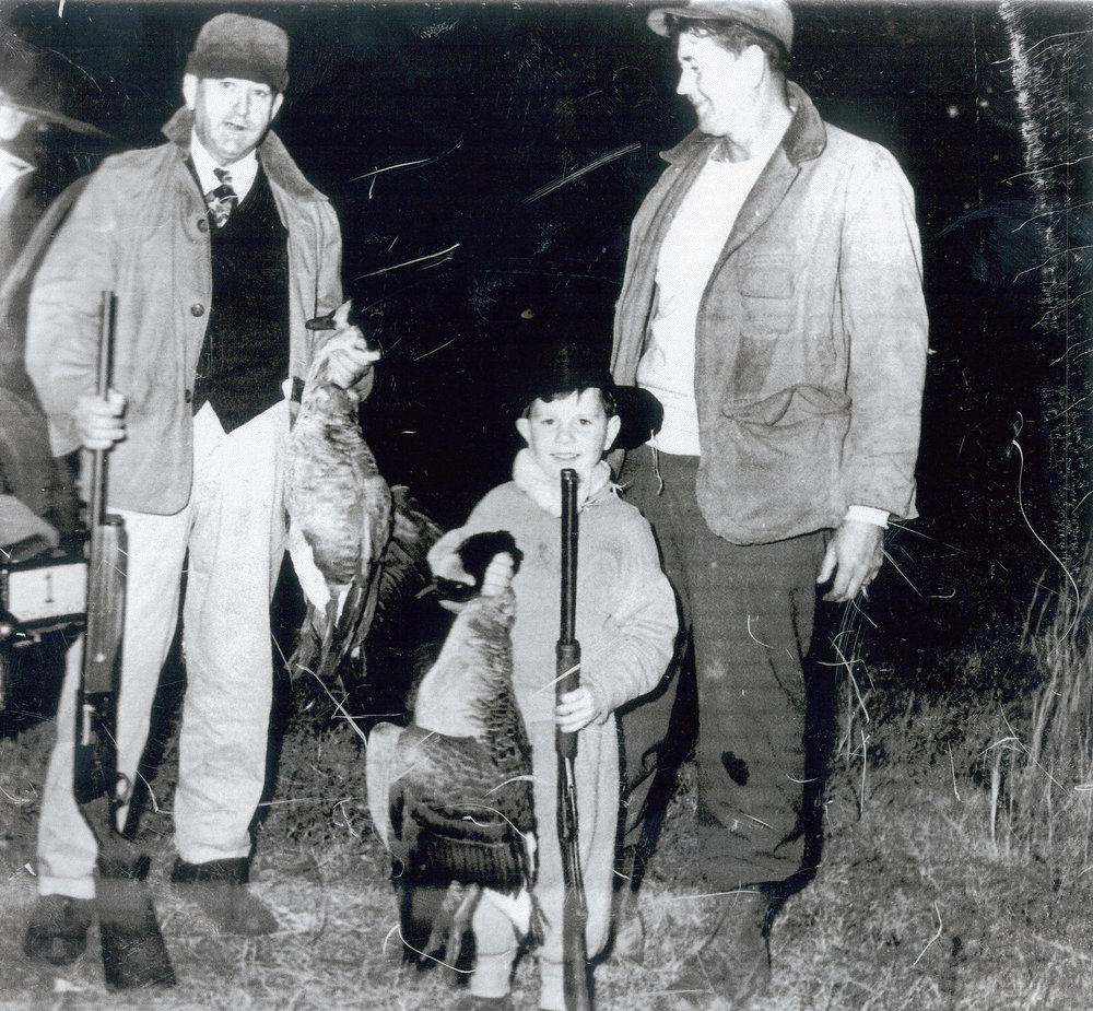 Former State Senator  A. B. Swindell  (center) guided on the lake for three seasons from 1967 through 1969. He recalls that when he was just a youngster, North Carolina Governor  Kerr Scott (left)  came to Hyde County to hunt at the lake and stayed at the home of his parents, State Representative and Mrs.  Russell A. Swindell (right) .
