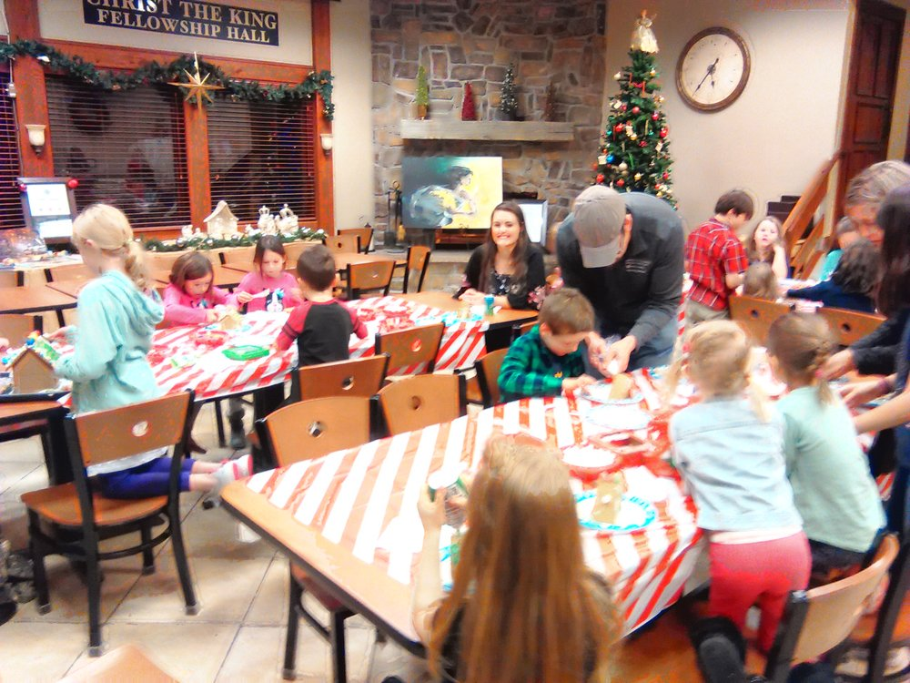 A fun time was had by all decorating gingerbread houses!