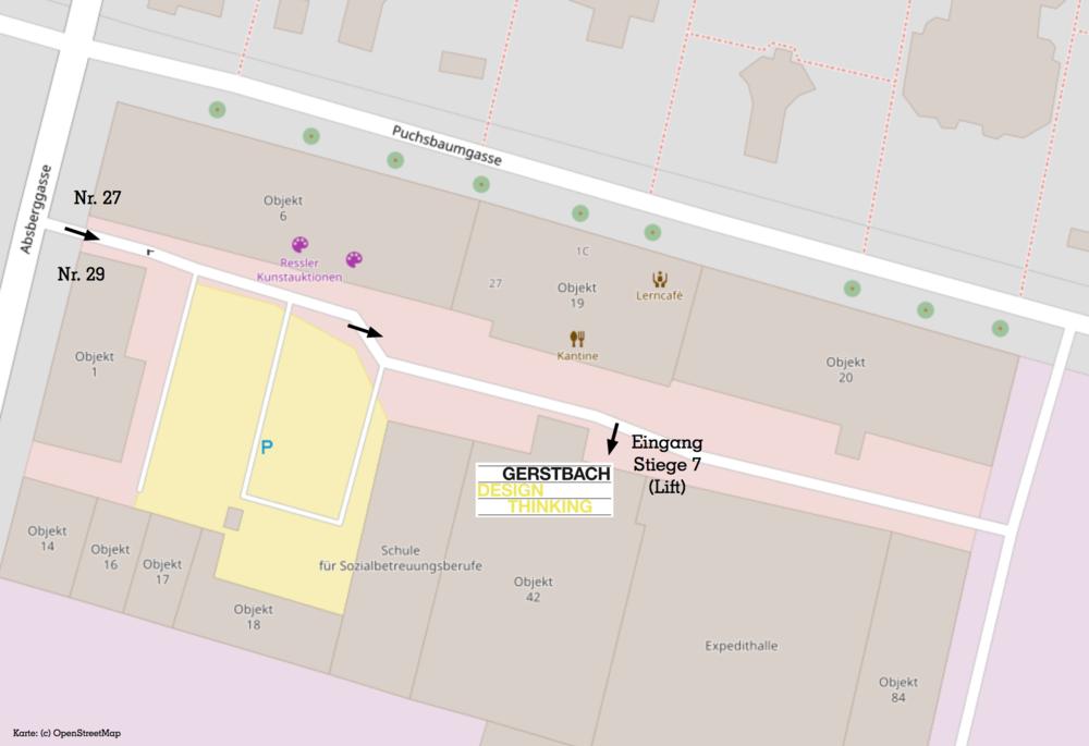 So finden Sie uns am Areal der Ankerbrotfabrik.  Kartenmaterial: (c) OpenStreetMap