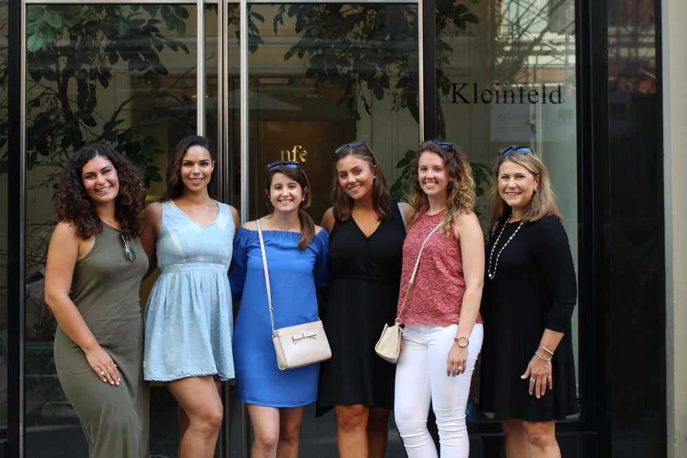 From left to right: my sister and MOH, Kristen; model friend Rosa; college bestie Kristin; me; college roomie Kim; and my beautiful momma!