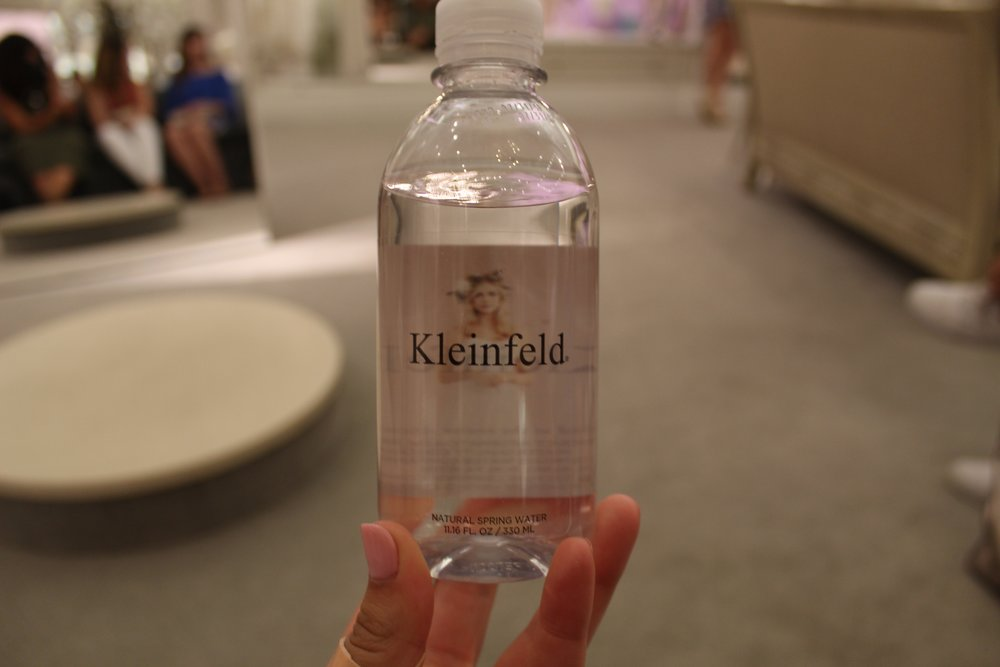 Kleinfeld water bottles, because of course.