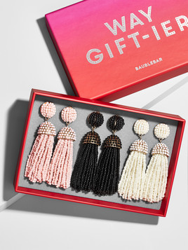 Triple Threat Tassel Earring Gift Set, $58